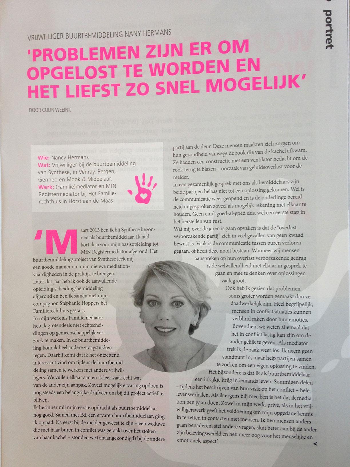 Mediator Nancy Hermans In De Pers: Maatwerk